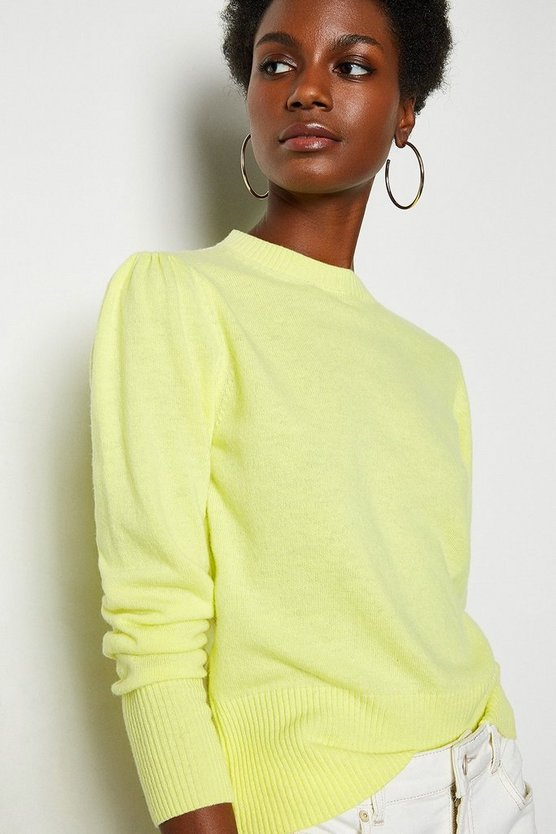 Lemon Cashmere Mix Puff Sleeve Crew Neck Jumper