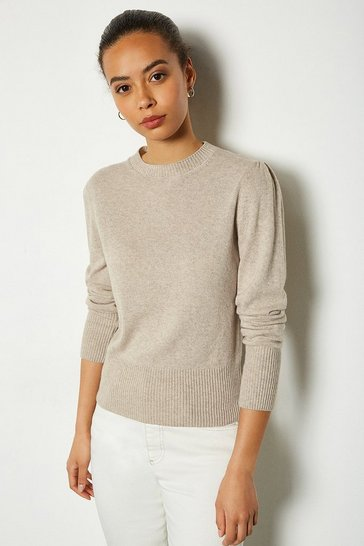 Stone Cashmere Mix Puff Sleeve Crew Neck Jumper