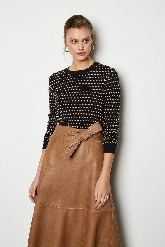 Black Jacquard Spot Long Sleeve Jumper