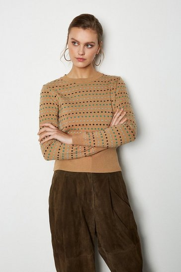 Camel Jacquard Spot Long Sleeve Jumper