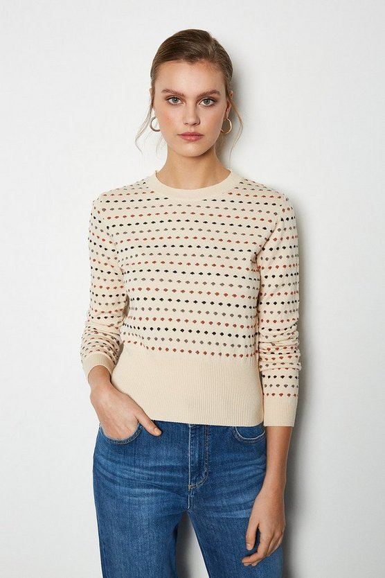 Ivory Jacquard Spot Long Sleeve Jumper