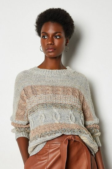 Grey Multi Stitch Long Sleeve Crew Neck Jumper