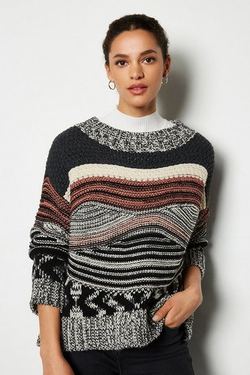 Dark grey Multi Stitch Long Sleeve Crew Neck Jumper