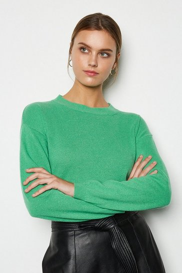 Womens Apple green Recycled Cashmere Essential Jumper