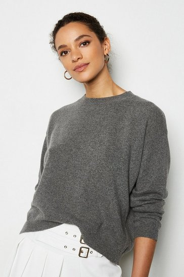 Womens Grey Recycled Cashmere Essential Jumper