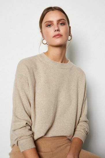 Womens Oatmeal Recycled Cashmere Essential Jumper