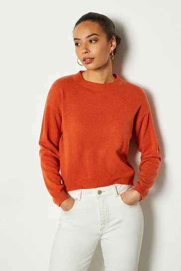 Womens Orange Recycled Cashmere Essential Jumper