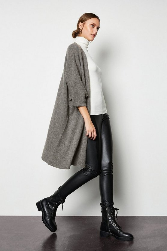 Womens Grey Recycled Cashmere Oversized Cardigan