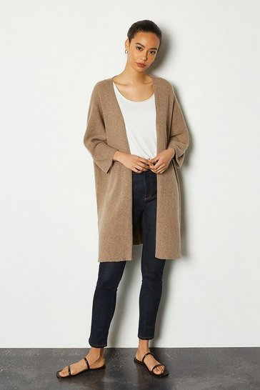 Womens Taupe Recycled Cashmere Oversized Cardigan
