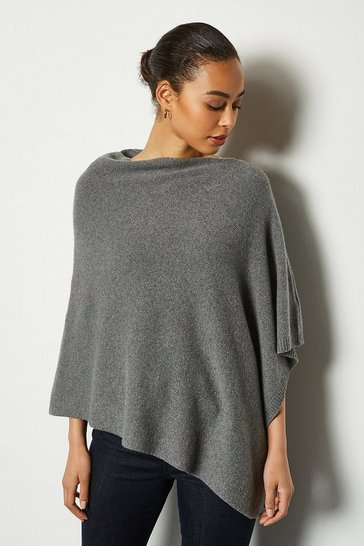 Womens Grey Recycled Cashmere Poncho