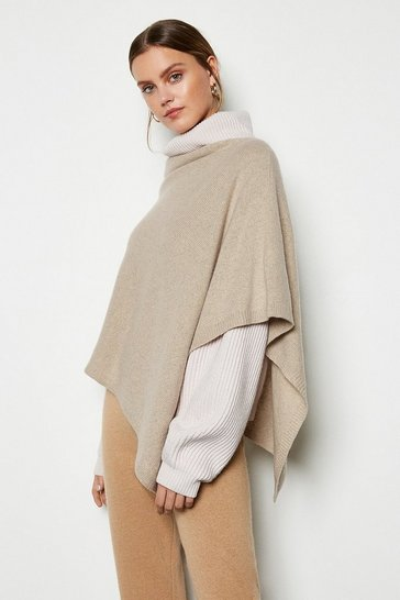 Womens Oatmeal Recycled Cashmere Poncho
