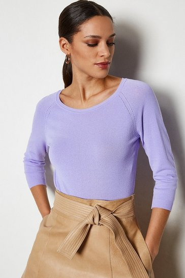 Lilac 3/4 Sleeve Fine Knit Jumper