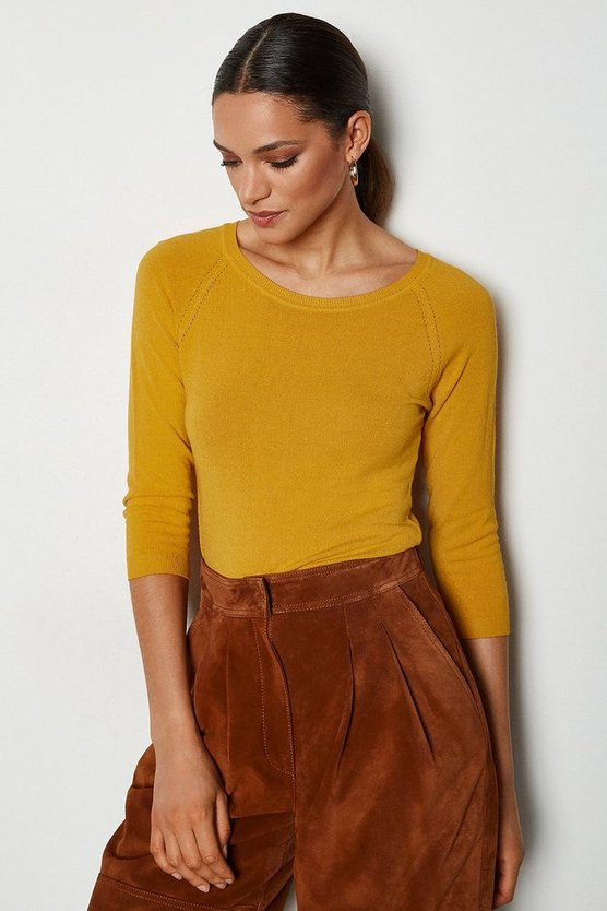 Mango 3/4 Sleeve Fine Knit Jumper