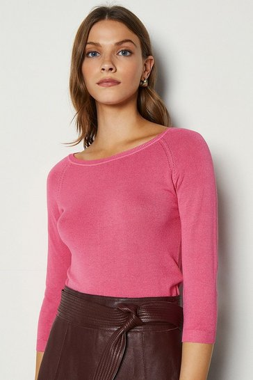 Pink 3/4 Sleeve Fine Knit Jumper