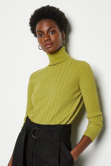 Green Essential Wide Rib Roll Neck