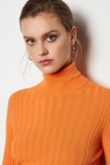 Orange Essential Wide Rib Roll Neck