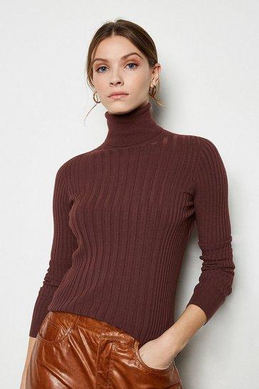 Rust Essential Wide Rib Roll Neck