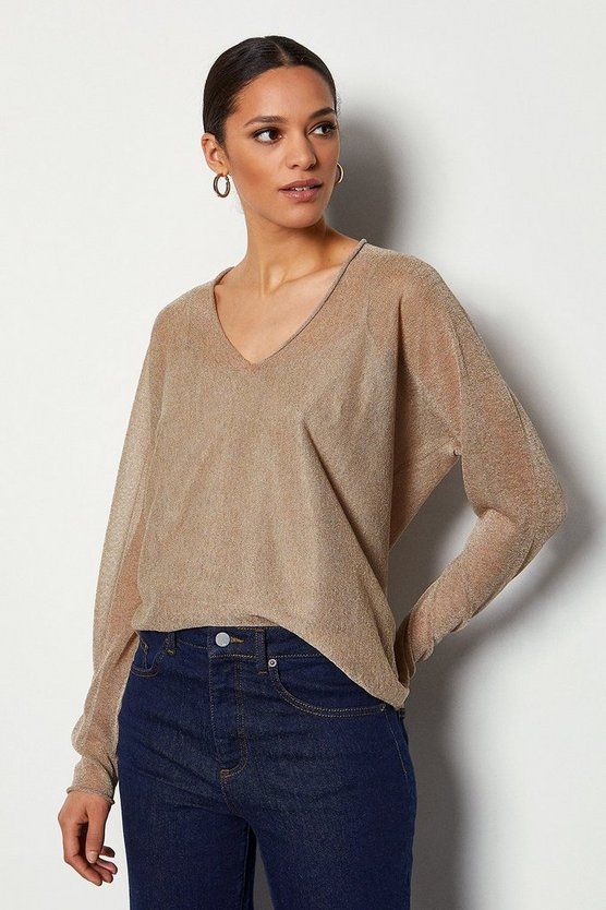 Blush V Neck Fine Knit Jumper