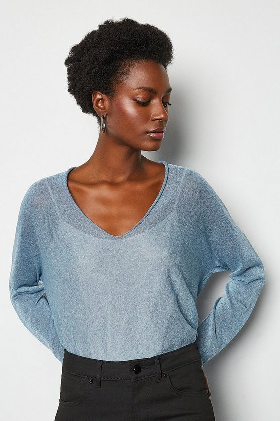 Pale blue V Neck Fine Knit Jumper