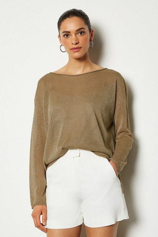 Beige Fine Knit Sheer Jumper