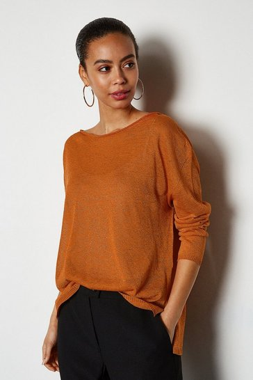 Orange Fine Knit Sheer Jumper