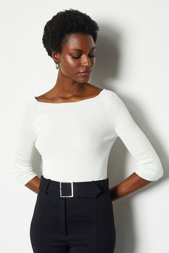 Ivory 3/4 Sleeve Fine Knit Jumper