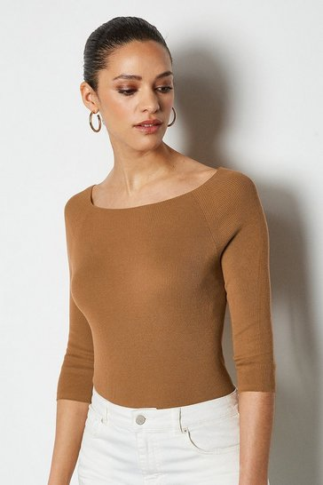 Tan 3/4 Sleeve Fine Knit Jumper