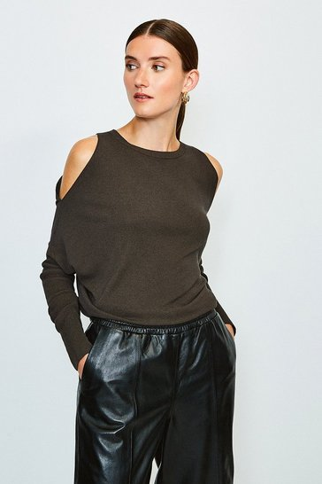 Brown Cold Shoulder Fine Gauge Knit Jumper