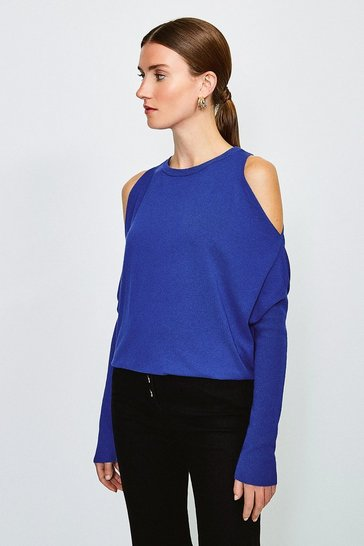 Cobalt Cold Shoulder Fine Gauge Knit Jumper