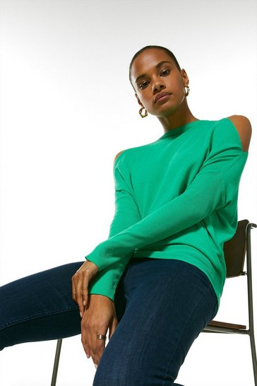 Green Cold Shoulder Fine Gauge Knit Jumper