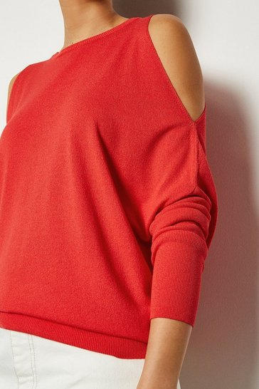 Red Cold Shoulder Fine Gauge Knit Jumper