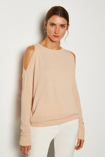 Sand Cold Shoulder Fine Gauge Knit Jumper