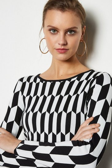 Blackwhite Geometric Print Knitted Top