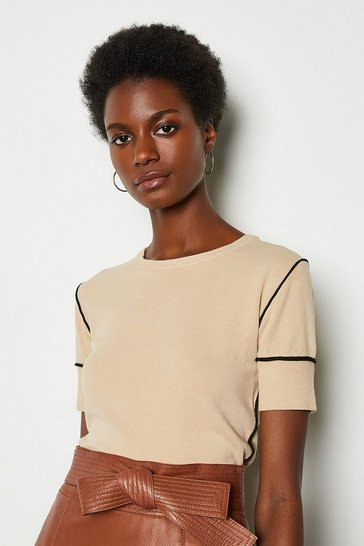 Beige Contrast Knit Top