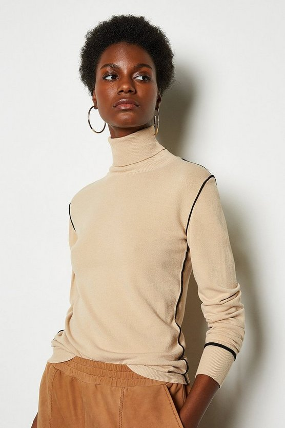 Beige Contrast Knit Roll Neck Jumper