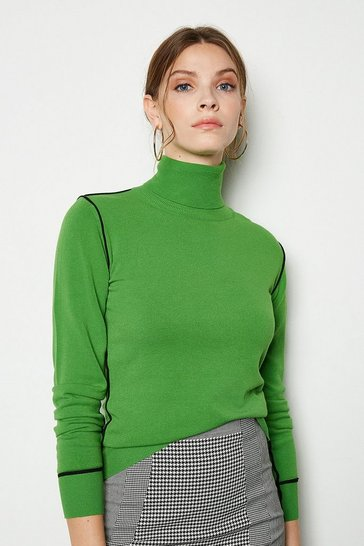 Green Contrast Knit Roll Neck Jumper
