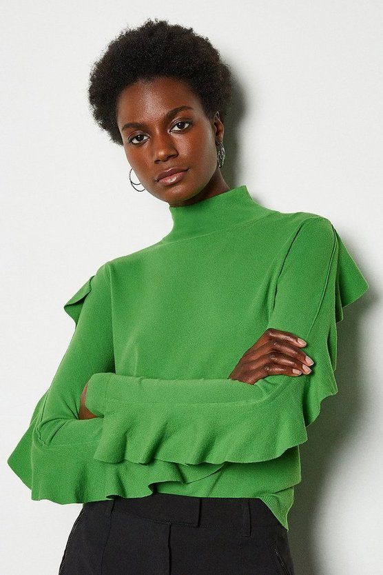 Green Frill Sleeve Jumper