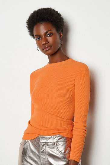 Orange Essential Rib Jumper