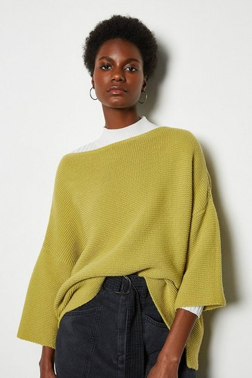 Mustard Cotton Rib Boat Neck Jumper