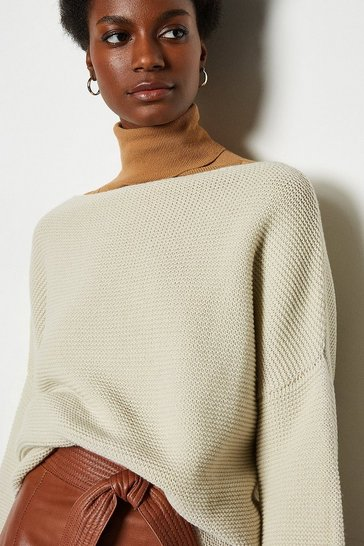 Oatmeal Cotton Rib Boat Neck Jumper