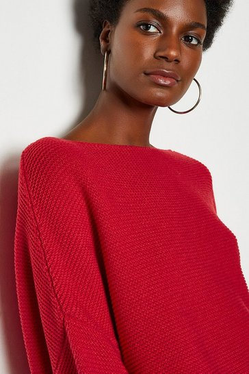 Red Cotton Rib Boat Neck Jumper