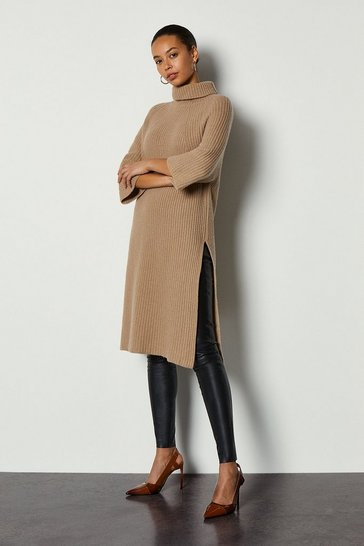 Camel Roll Neck Cashmere Mix Jumper Dress