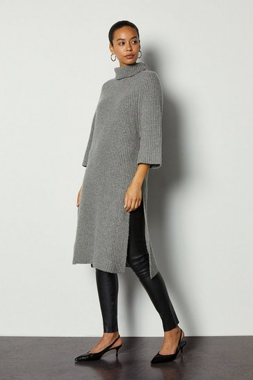 Grey marl Roll Neck Cashmere Mix Jumper Dress