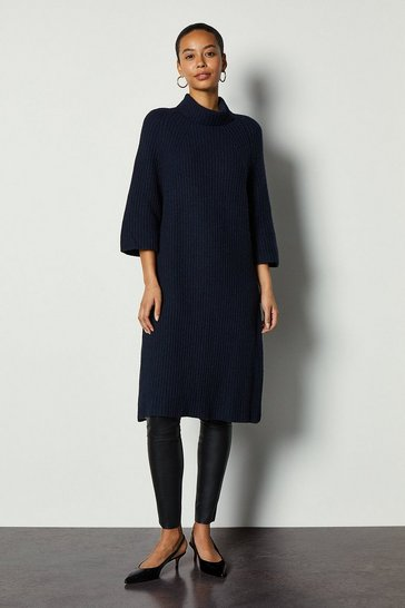 Navy Roll Neck Cashmere Mix Jumper Dress