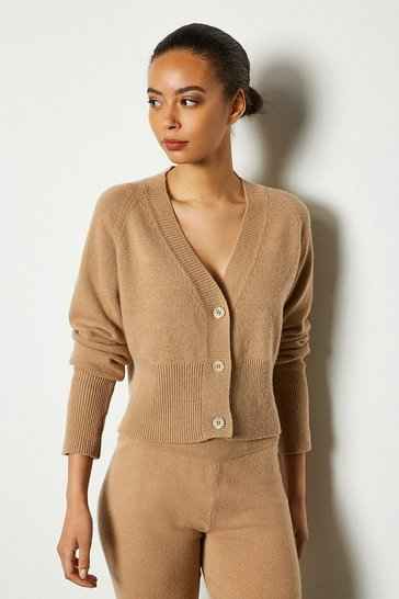 Camel Cropped Button Print Cashmere Mix Cardi