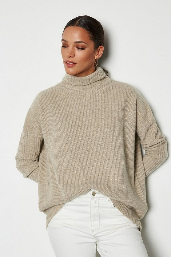 Beige Roll Neck Cashmere Mix Jumper
