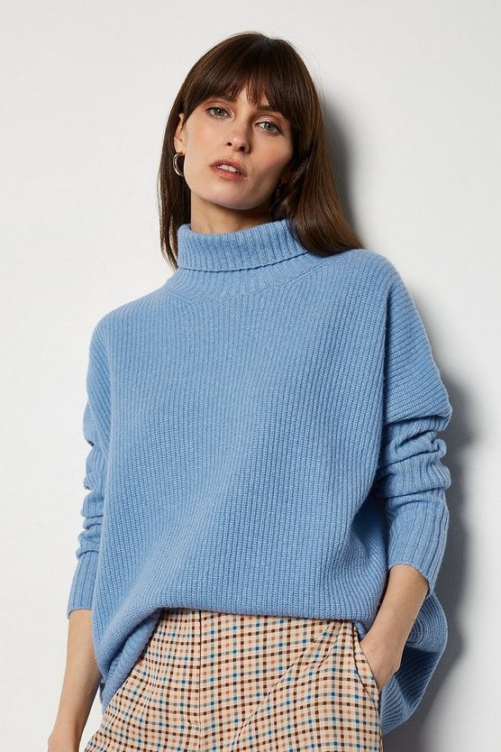 Dark blue Roll Neck Cashmere Mix Jumper