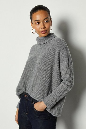 Grey marl Roll Neck Cashmere Mix Jumper
