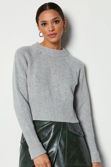 Pale grey Round Neck Cashmere Blend Cropped Jumper