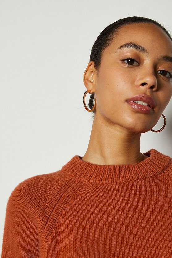 Rust Round Neck Cashmere Blend Cropped Jumper